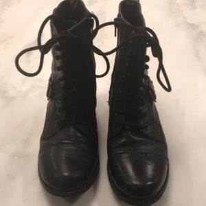 Nine West Black Leather Side Zip lace up Boots-7M